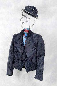 Blaue asymmetrische Breitschwanzjacke mit passender Kappe
